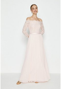 Blush Lace Bodice Bardot Maxi Dress