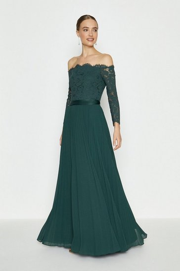 Forest Lace Bodice Bardot Maxi Dress