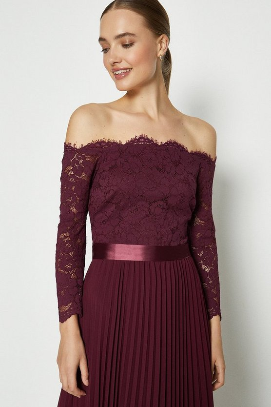 Merlot Lace Bodice Bardot Maxi Dress