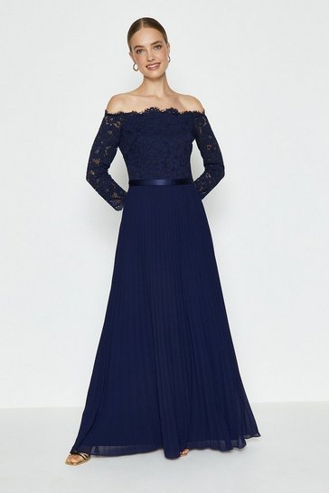 Navy Lace Bodice Bardot Maxi Dress