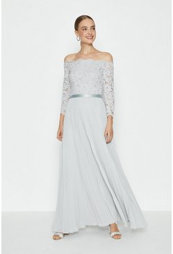Silver Lace Bodice Bardot Maxi Dress