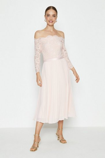 Blush Lace Bodice Bardot Midi Dress