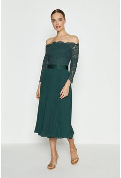 Forest Lace Bodice Bardot Midi Dress