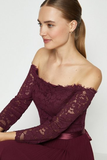 Merlot Lace Bodice Bardot Midi Dress