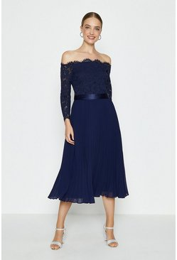 Navy Lace Bodice Bardot Midi Dress