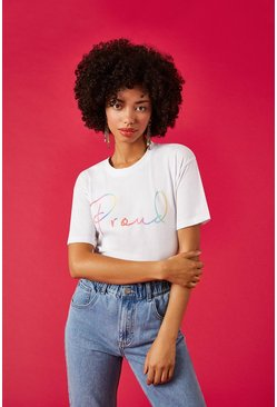 White Proud Front Print T-Shirt