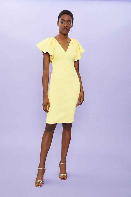 Lemon Ruffle Sleeve Midi Shift Dress