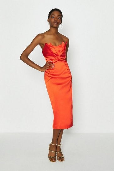 Orange Seam Bandeau Midi Dress