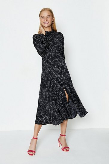 Black Long Sleeve Tie Back Midi Dress