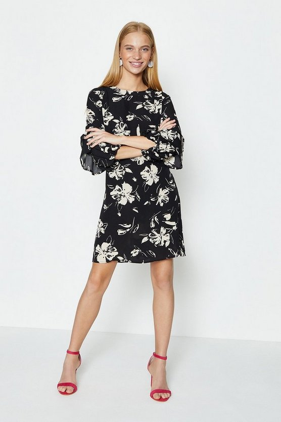 Mono Floral Printed Flare Sleeve Dress