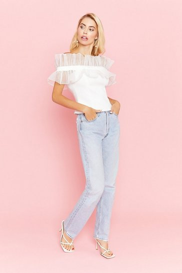 Blue Elasticated Paperbag Waist Jean