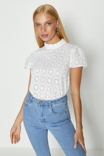 White Broderie Anglaise Ruffle Sleeve Top