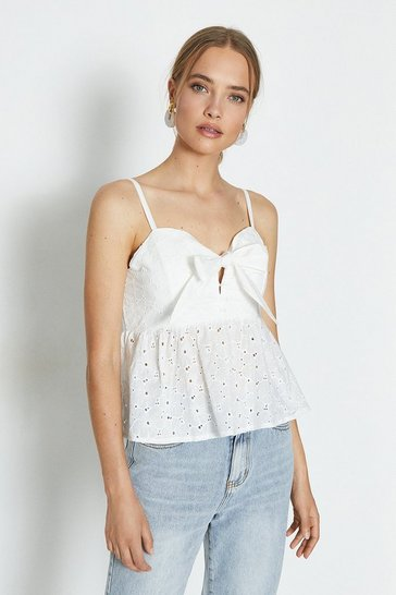 White Pussy Bow & Frill Hem Strappy Top