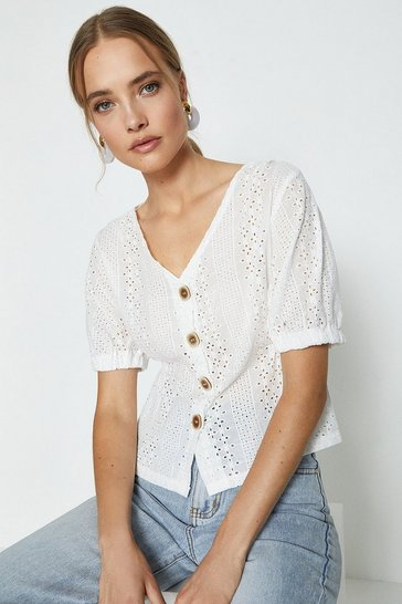 White V Neck Button Down Short Sleeve Top