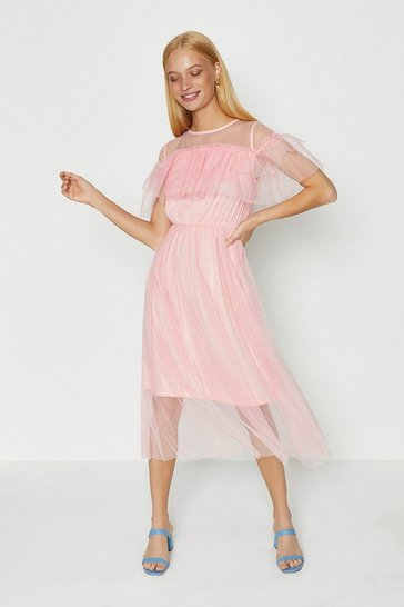 Blush Ruffle Mesh Dress
