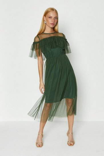 Forest Ruffle Mesh Dress