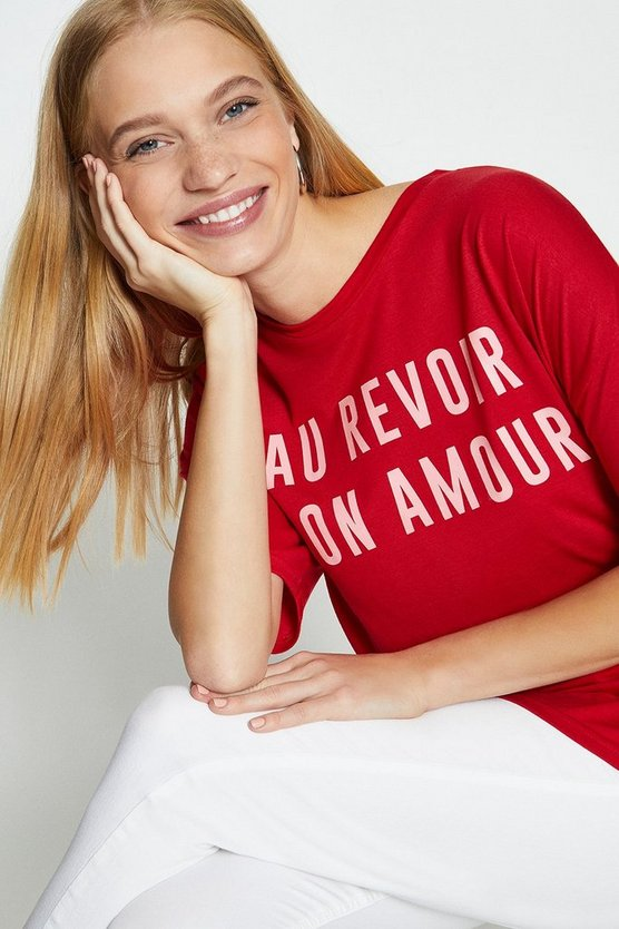 Red Au Revoir Slogan T-Shirt