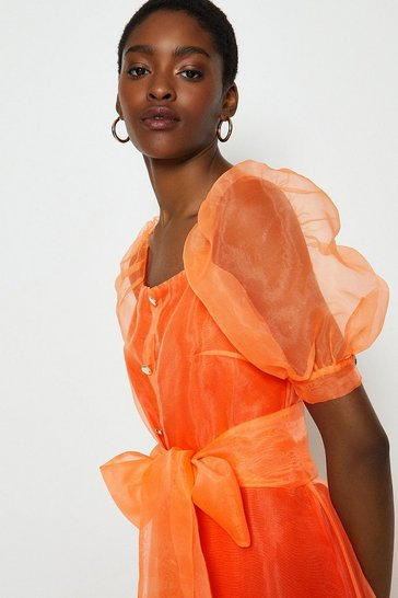 Orange Square Neck Organza Belted Dress