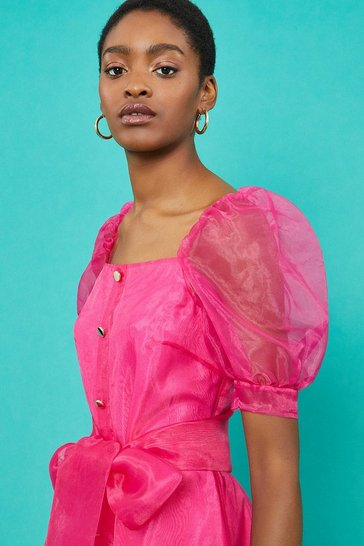 Pink Square Neck Organza Belted Dress