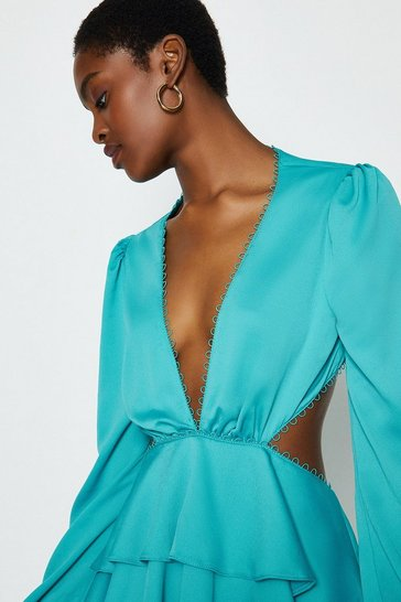 Aqua Cut Out Tiered Maxi Dress