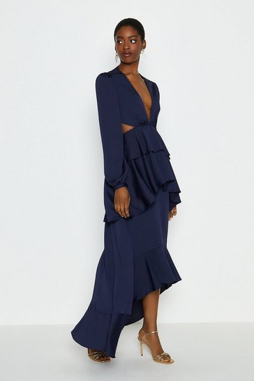 Navy Cut Out Tiered Maxi Dress