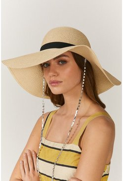 Natural Straw Hat With Chain