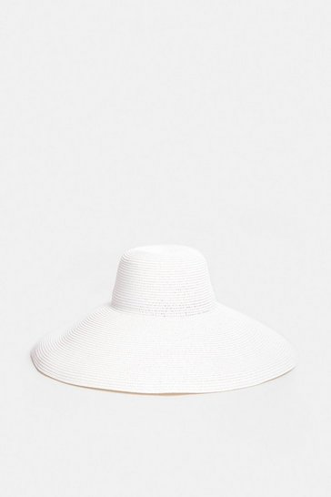 White Extra Wide Brim Straw Hat