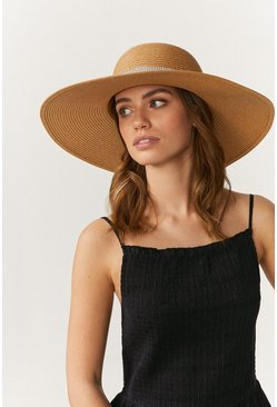 Tan Diamante Band Wide Brim Straw Hat