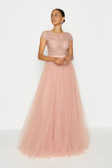Mauve Cap Sleeve Glitter Tulle Skirt Maxi Dress