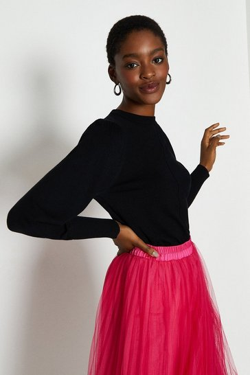 Black Statement Puff Sleeve Jumper