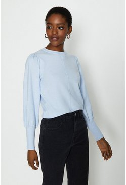 Blue Statement Puff Sleeve Jumper