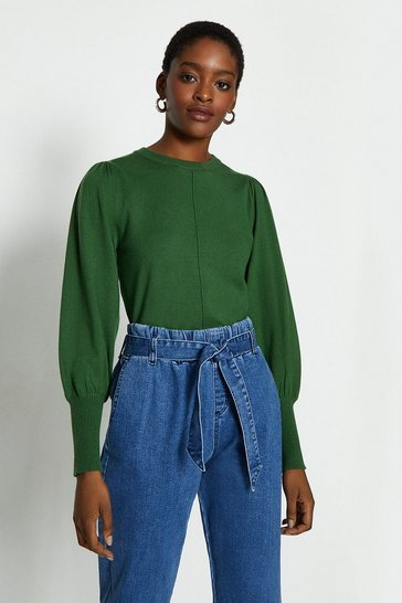 Green Statement Puff Sleeve Jumper