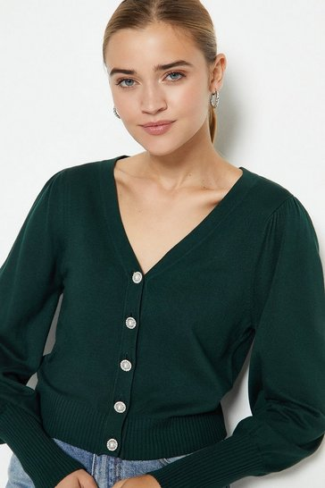 Dark green V-Neck Pearl Button Cardigan