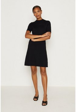 Black Short Sleeve Pointelle Dress