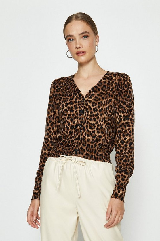 Brown V-Neck Animal Print Cardigan