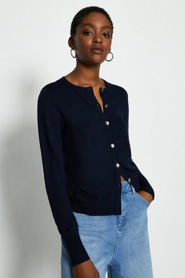 Navy Long Sleeve Button Front Cardigan
