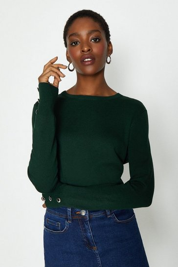 Green Round Neck Button Cuff Funnel Jumper