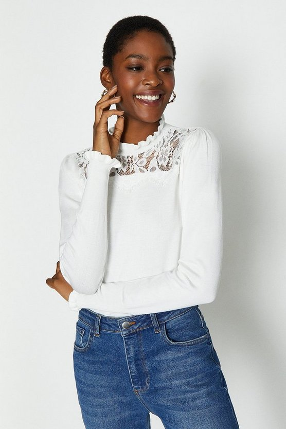 White Lace High Neck Jumper