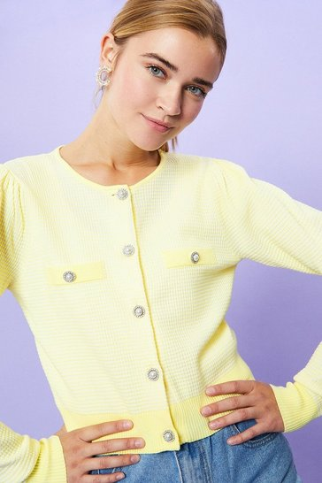 Lemon Jewel Button Stitchy Cardigan