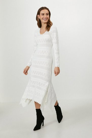Cream Pointelle Statement Dress