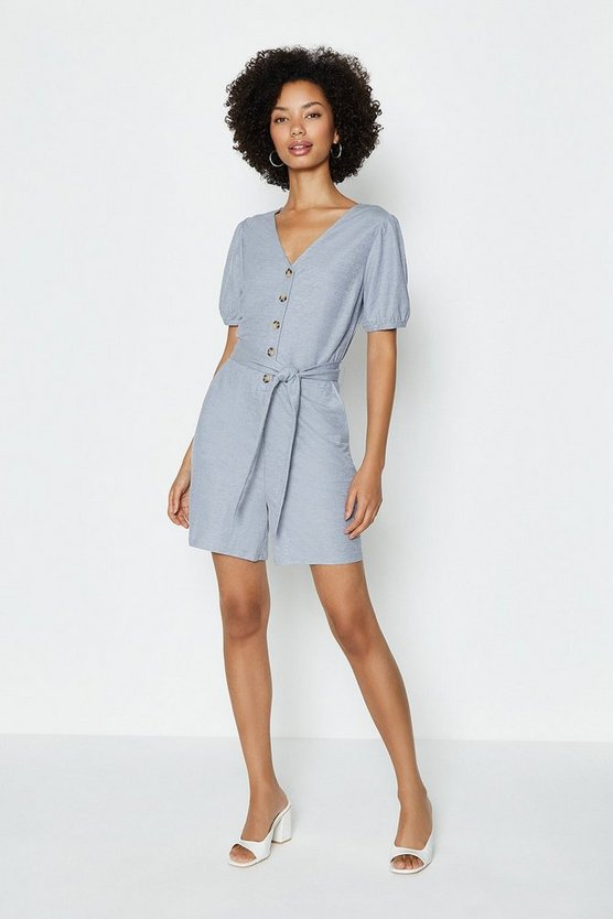 Blue Puff Sleeve Pique Playsuit