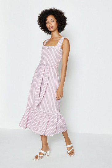 Pink  Stripe Pique Midi Dress