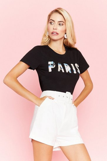 Black Paris Jewelled Tee