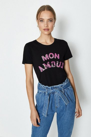 Black Mon Amour Sequin Top