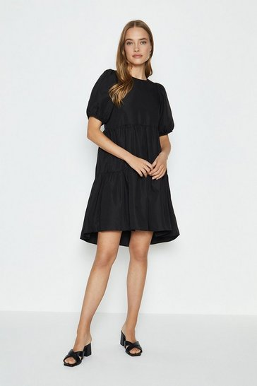 Black Puff Shoulder Smock Dress