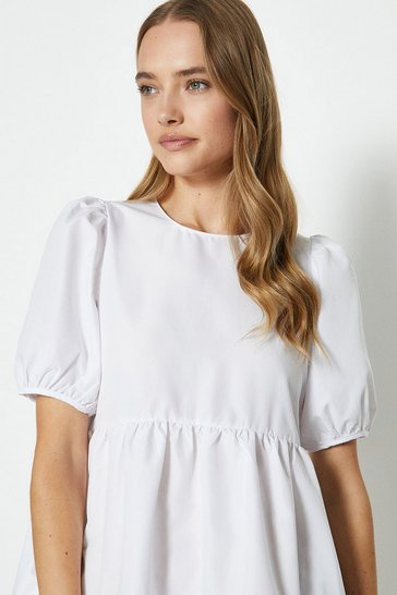 White Puff Shoulder Smock Dress