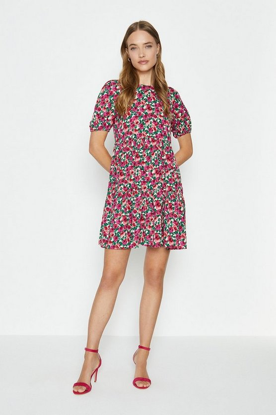 Red Puff Shoulder Floral Printed Smock Dress