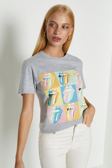 Grey Rolling Stones Pastel Tongue Print T Shirt
