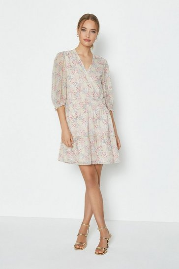 Pink Wrap Front Ditsy Print Dress