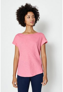Bubblegum Cotton Slub Plain T-Shirt